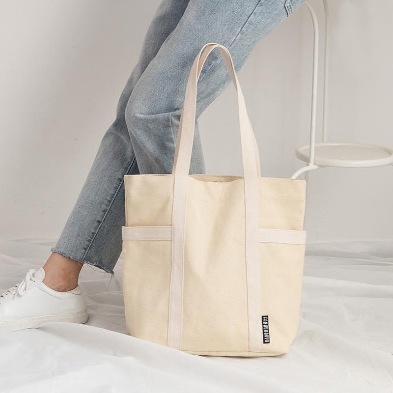 梵花不语原创新款撞色帆布包女单肩包包女敞口袋韩版百搭手提布袋