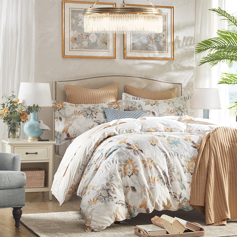 Harbor House cotton satin flower and bird print four-piece cotton quilt cover sheet pillowcase bedding