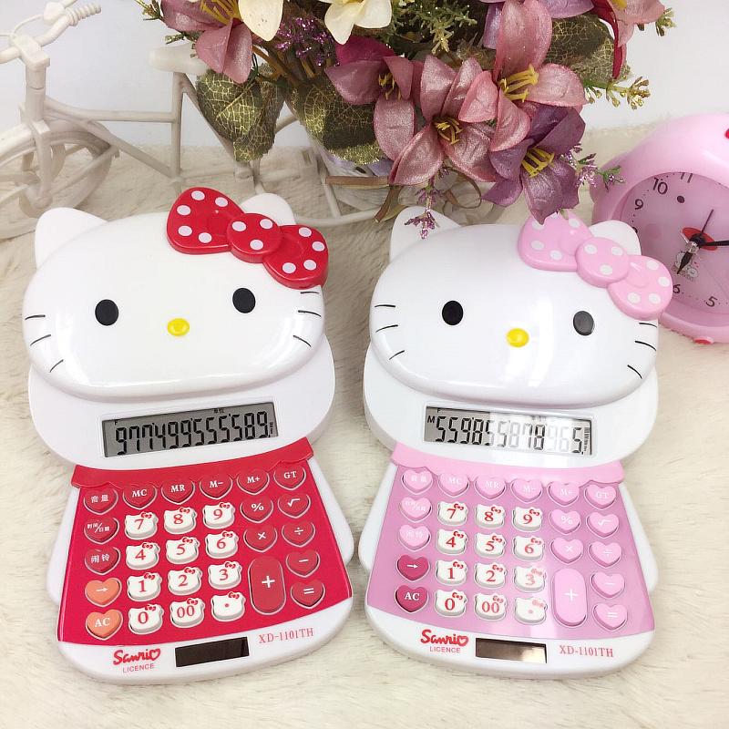 可爱创意可爱卡通语音计算器韩国有声立体Hello kitty学生计算机
