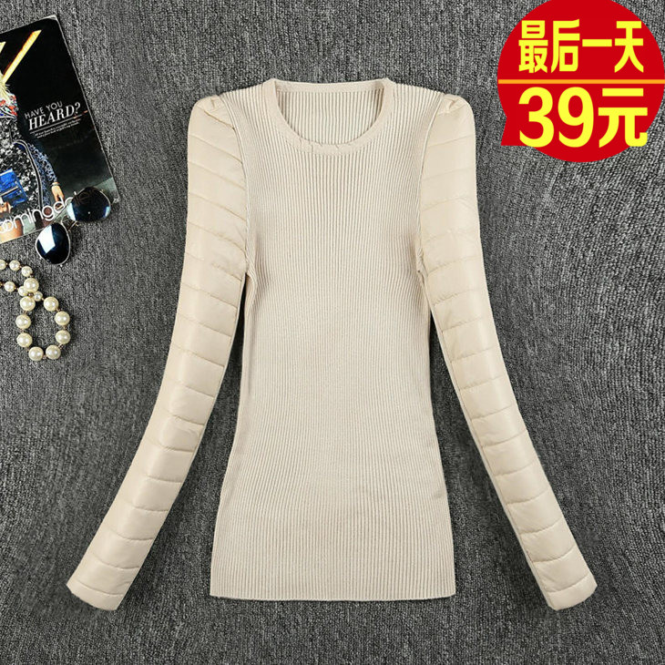 New leather sleeve base coat knitted cotton sleeve thickening with down fur vest high collar Pullover female winter