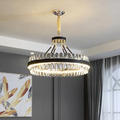 现代轻奢吊灯水晶客厅大灯大气主灯餐厅卧室简约北欧美式黑色灯具