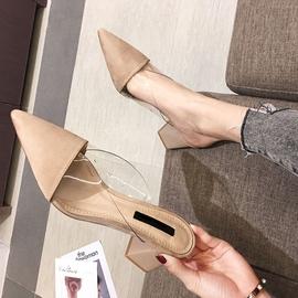 包头半拖鞋女外穿2020新款透明百搭时尚尖头粗跟高跟拖鞋穆勒凉拖