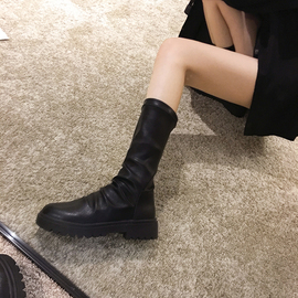 春秋馬丁靴女靴子網紅新款黑色單靴瘦瘦百搭中筒短靴潮ins顯腳小圖片