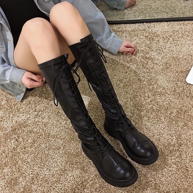 新款秋季靴子百搭粗跟长筒秋款高筒骑士靴潮ins长靴女过膝靴2019