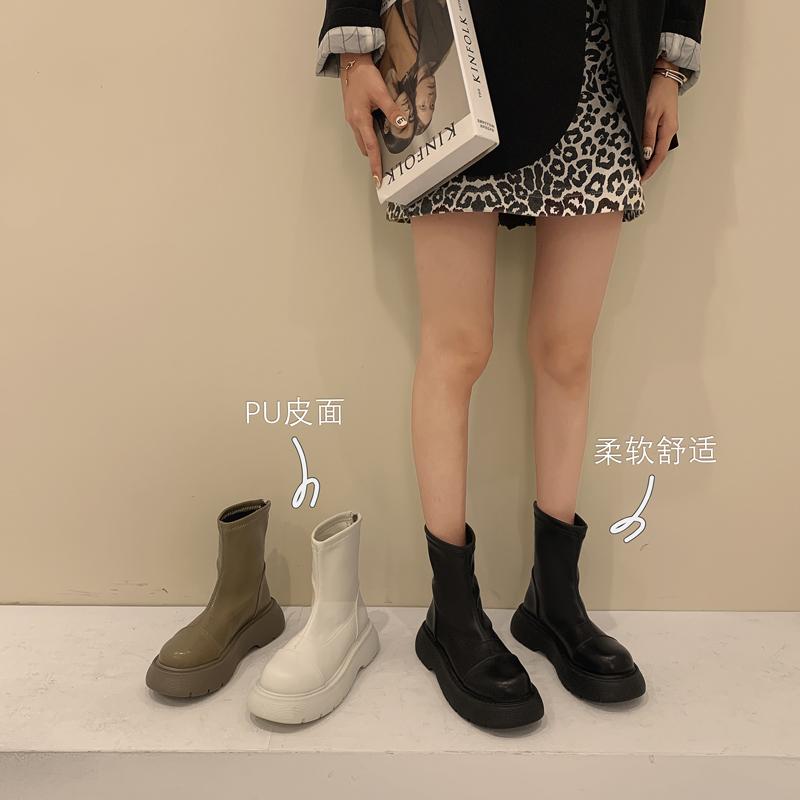爆款靴子女鞋2021年春秋新款单靴女马丁英伦厚底鞋子秋季瘦瘦短靴