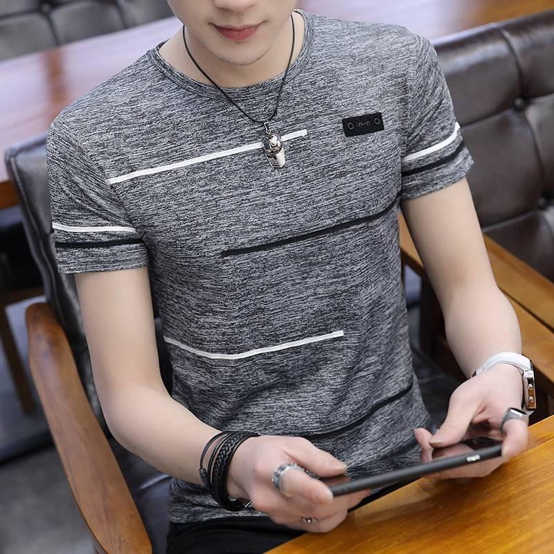 男士短袖T恤夏季圆领冰丝半袖体恤青年韩版潮流上衣服男装打底衫
