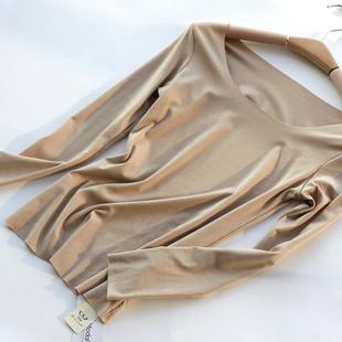 STW女式内衣打底秋衣莫代尔无痕保暖上装圆领长袖T恤宽松上衣肉色