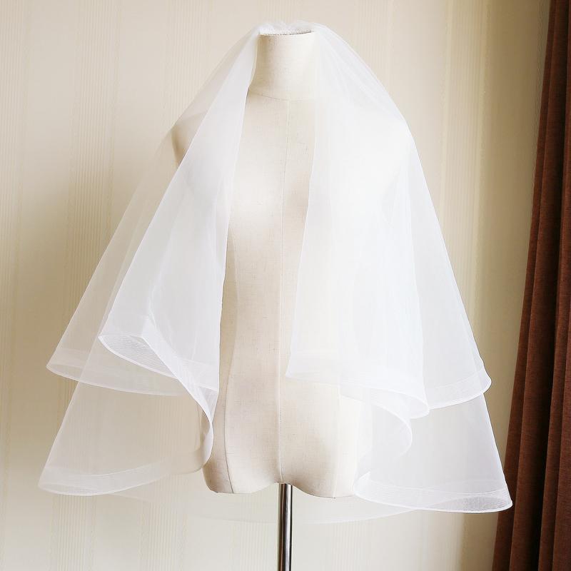 白色短款新款多层韩式简约高端新娘结婚婚纱配件蓬蓬发梳婚礼头纱