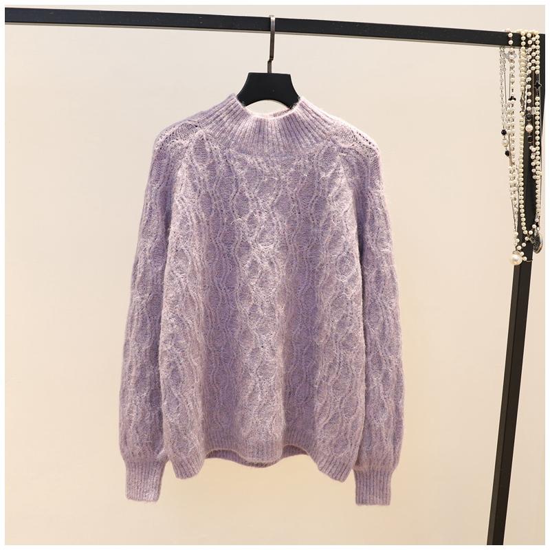 韩版冬季新品时尚半高领气质文艺范杂色菱格毛衣女加厚宽松针织衫