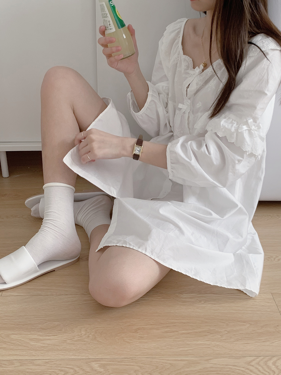 馨帮帮 自制花边蕾丝复古泡泡袖长袖连衣裙夏睡衣排扣衬衫短裙女图片