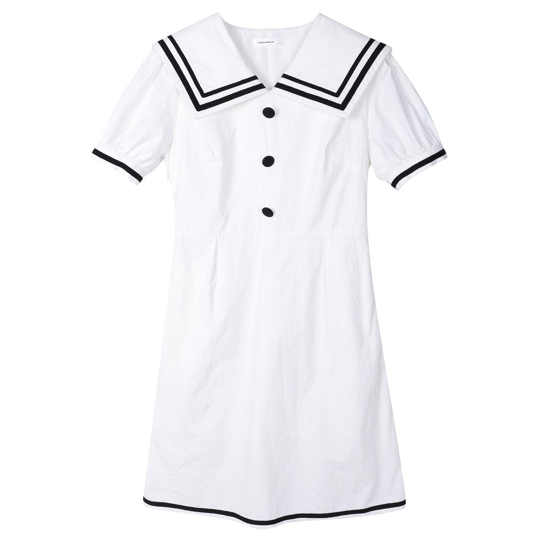 馨帮帮sinbounboun自制 2019新款日系学院风学生海军风连衣裙女夏