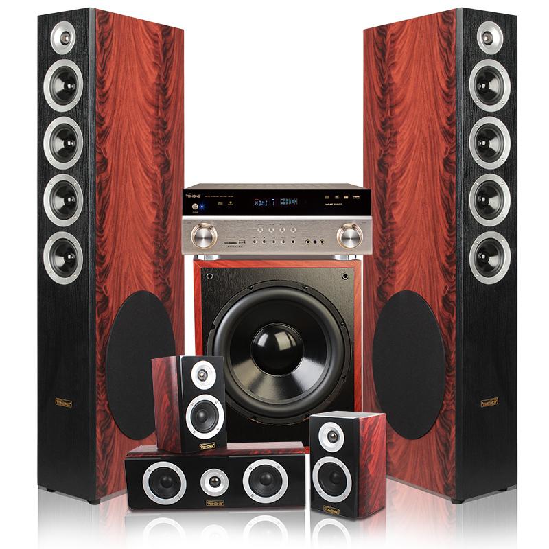 落地音箱HIFI家庭影院音响套装5.1红木纹109YH英瀚YOHONG促销