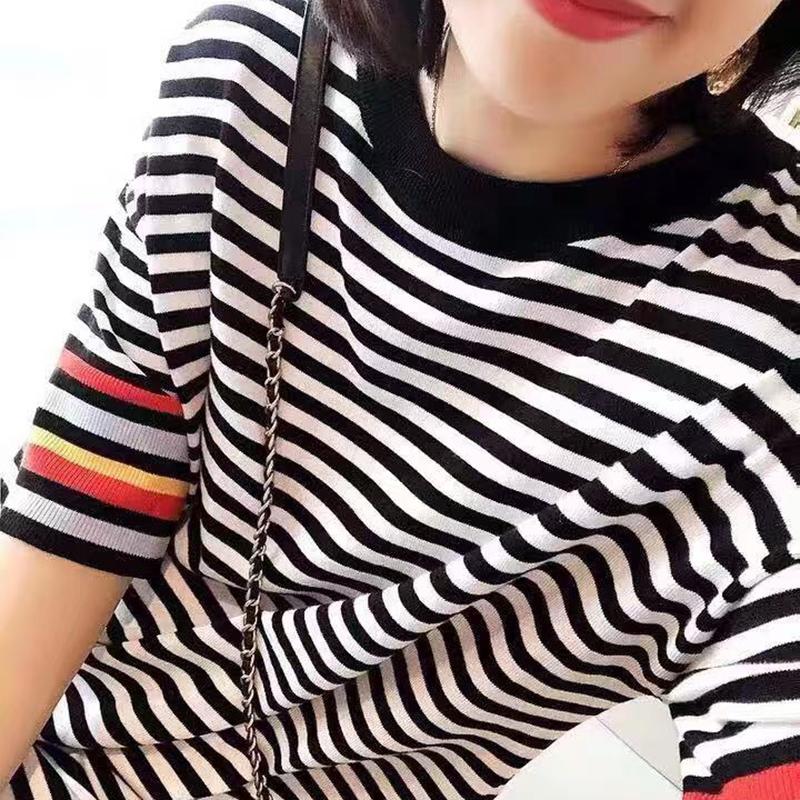 七彩亦酷中长款显瘦减龄条纹连衣裙