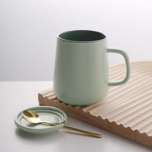家用北欧简约绿色大肚杯超大容量带盖口杯男生女生陶瓷咖啡马克杯