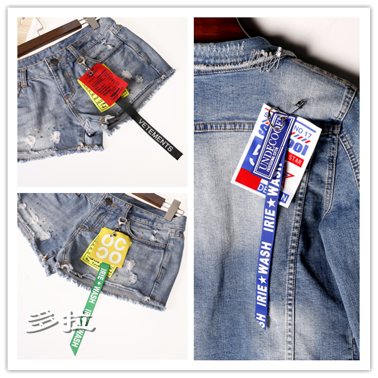 潮款不对称字母绸带布条别针钥匙扣双用款男女外套简约创意装饰品