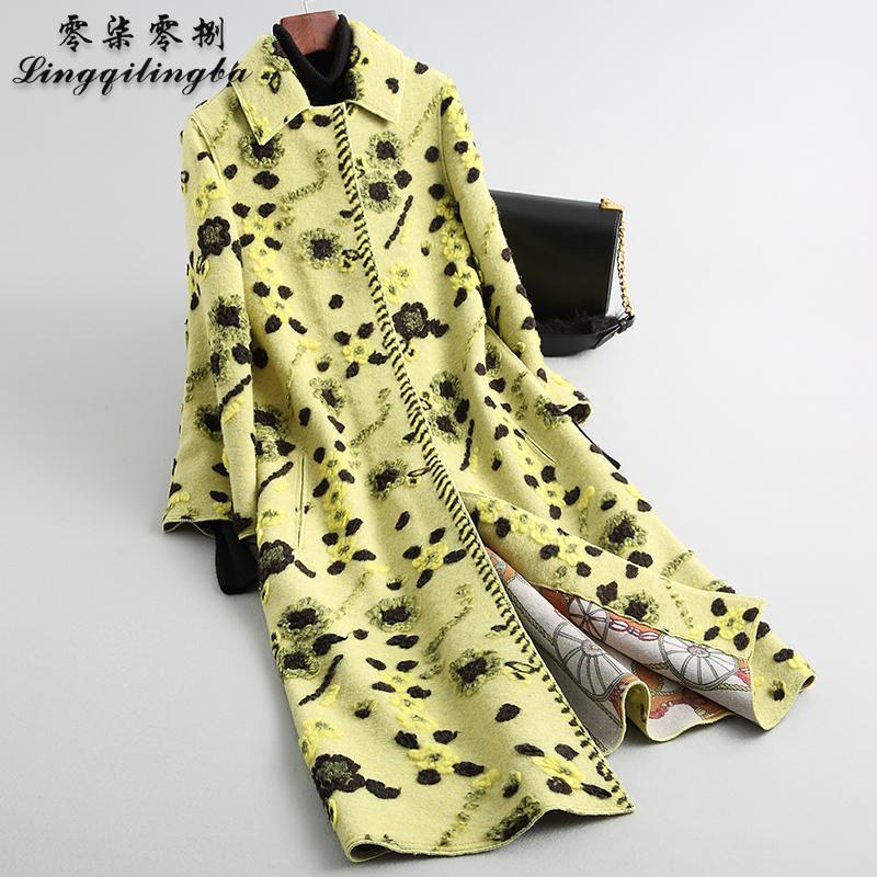 708 2021 fashion new color contrast jacquard wool coat womens long warm sheep sheared fur coat
