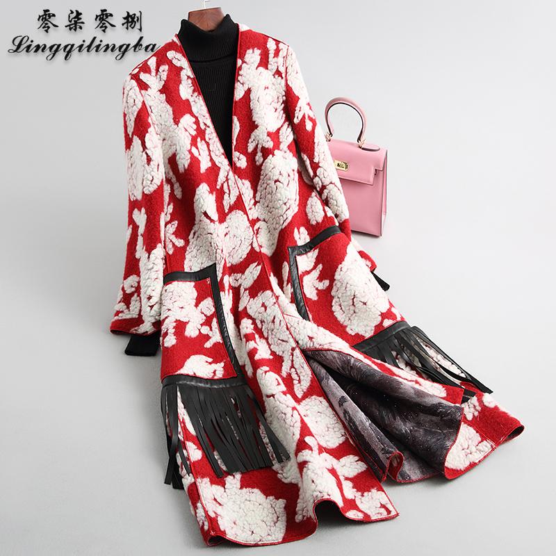 708 2021 new wool coat womens long Korean fashion 3D jacquard sheep shearing fur coat