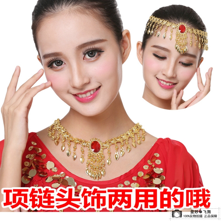 Special price Indian dance performance accessories headdress new style belly dance single diamond necklace with a diamond eyebrow heart drop chain