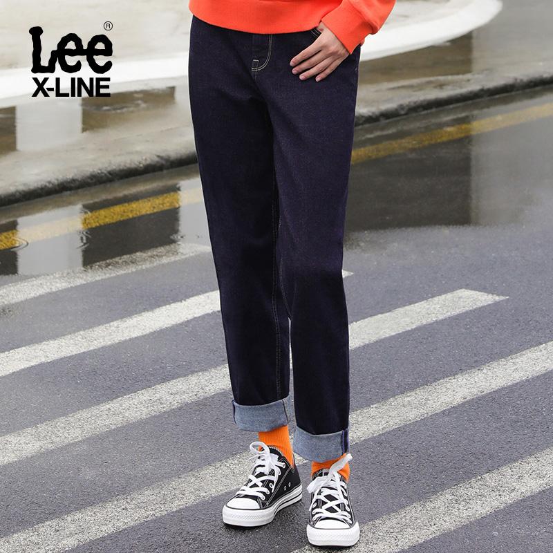 LeeX-LINE女款411深蓝色舒适高腰小直脚牛仔裤LWZ4112UZ8LJ