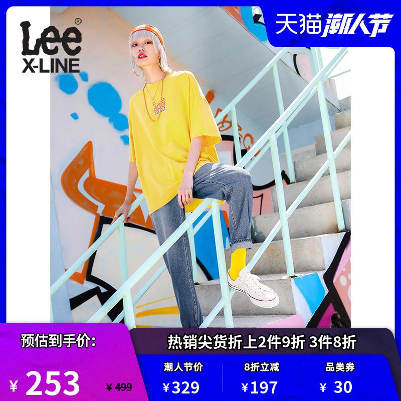 LeeXLINE蓝色水洗牛仔裤女411高腰小直脚裤2020新款LWZ4113HH85X