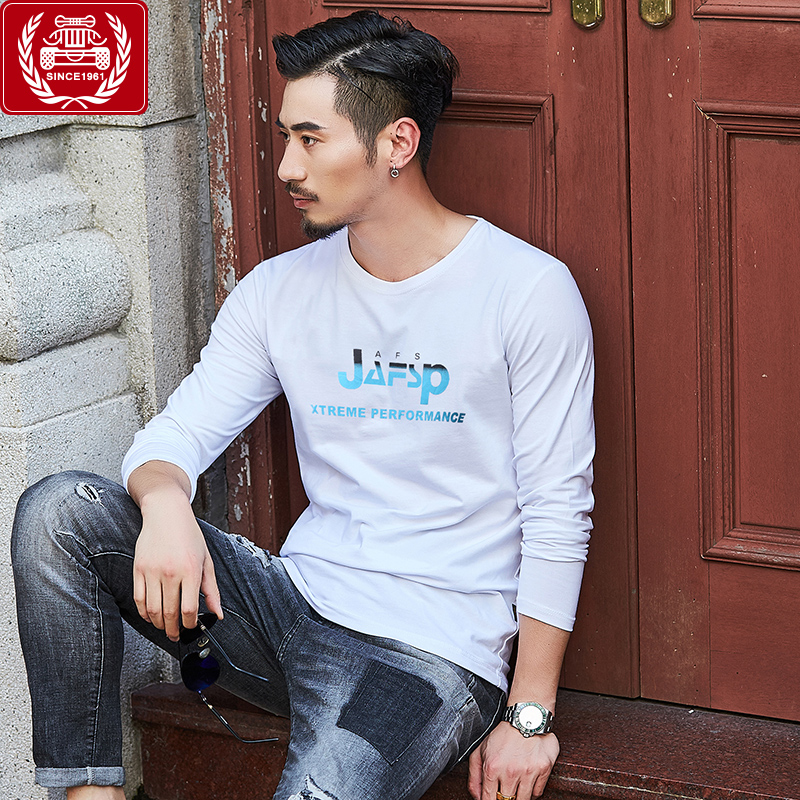 Field Jipu spring mens long sleeve T-shirt round neck loose base shirt pure cotton youth large size printed clothes