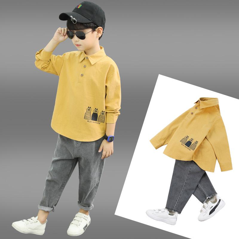五折促销男童洋气秋装套装2019春秋款男孩童装儿童帅气猫咪印花潮衣两件套
