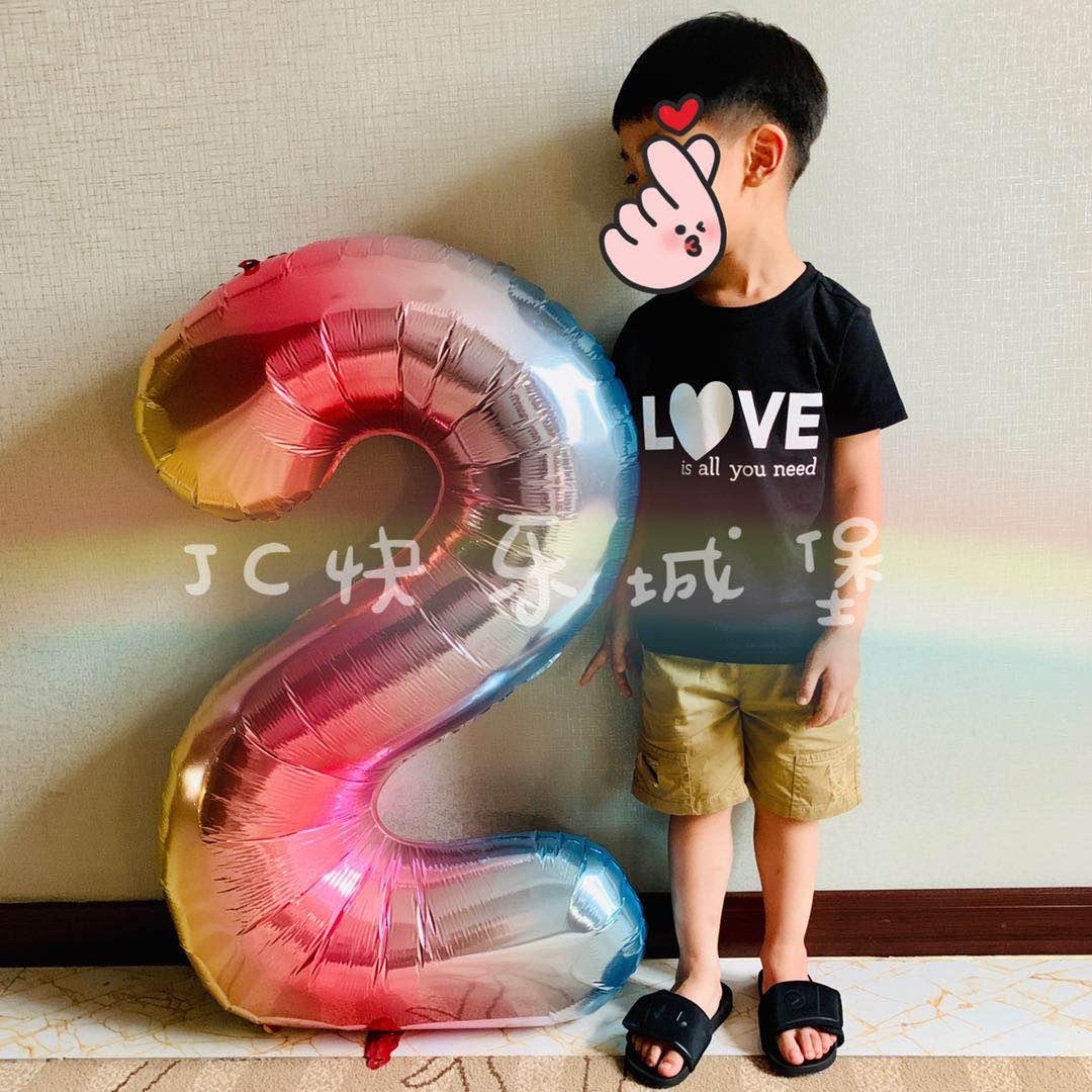 网红派对布置铝箔40寸数字气球儿童生日派对装饰ins彩色渐变90cm
