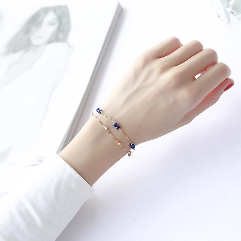 天然水晶手链女青金石帝王青蓝色手串新款时尚双层14k包金设计师 Изображение 1