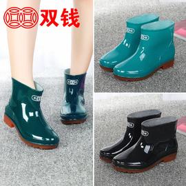 加绒时尚雨鞋女士雨靴女中筒水鞋牛筋底保暖防滑套鞋短筒水靴胶鞋图片