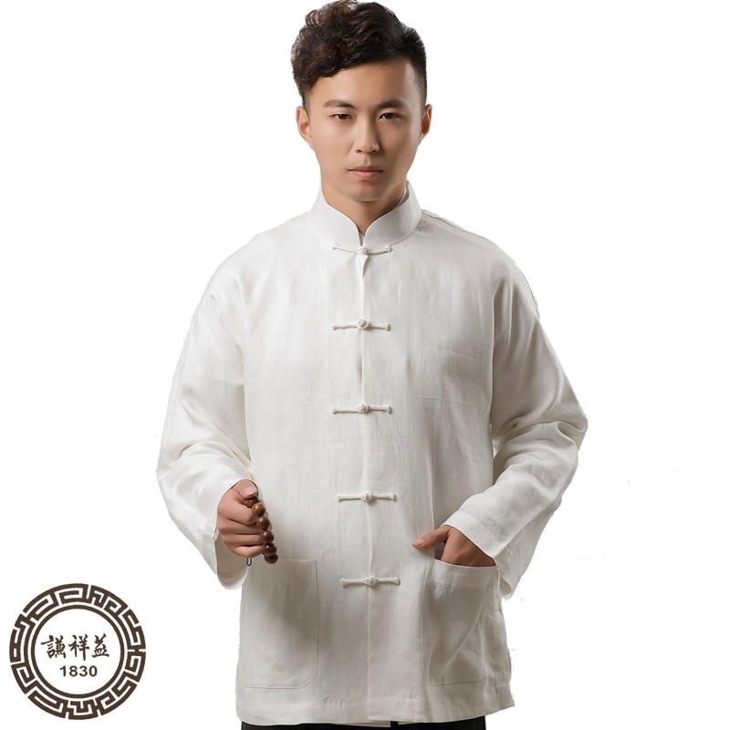 Tang Style Mens long sleeve spring top ethnic Chinese style linen vertical collar shirt Chinese style chassis button down shirt