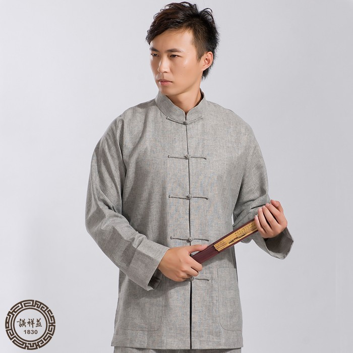Chinese style single Tang suit mens Linen long sleeve spring summer shirt middle aged and old peoples coat dress Chinese style leisure top