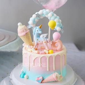烘焙蛋糕装饰可爱星星粉蓝渐变独角兽玩偶摆件毛球粘土气球插牌