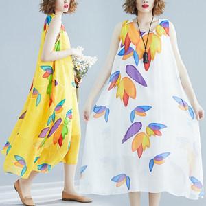 时尚印花夏装系海边度假背心裙无袖大码宽松显瘦沙河裙雪纺连衣裙