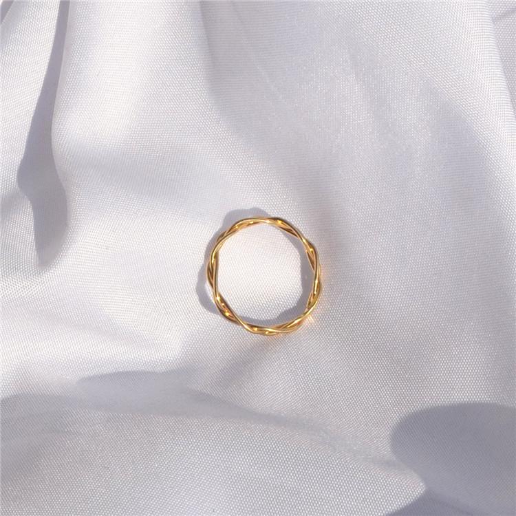 欧美饰品 时尚新款女生百搭流行拧花戒指指环 个性搭配首饰