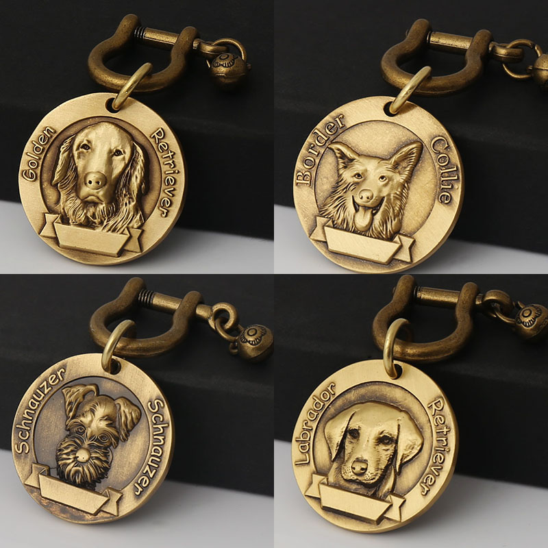 Pure copper dog tag identity tag brand customized lettering Labrador golden hair Teddy large dog tag pet anti loss