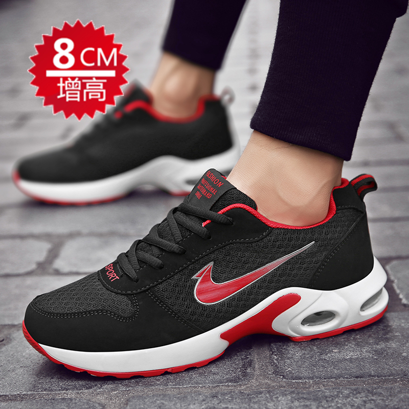 Mens height shoes 2020 spring flying weave air cushion light mesh breathable casual shoes odor proof running shoes for men