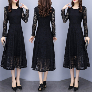 黑色蕾丝连衣裙女装2021春秋季新款长袖名媛气质大码长款打底长裙