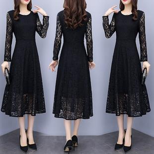 黑色蕾丝连衣裙女装2020春秋季新款长袖名媛气质大码长款打底长裙
