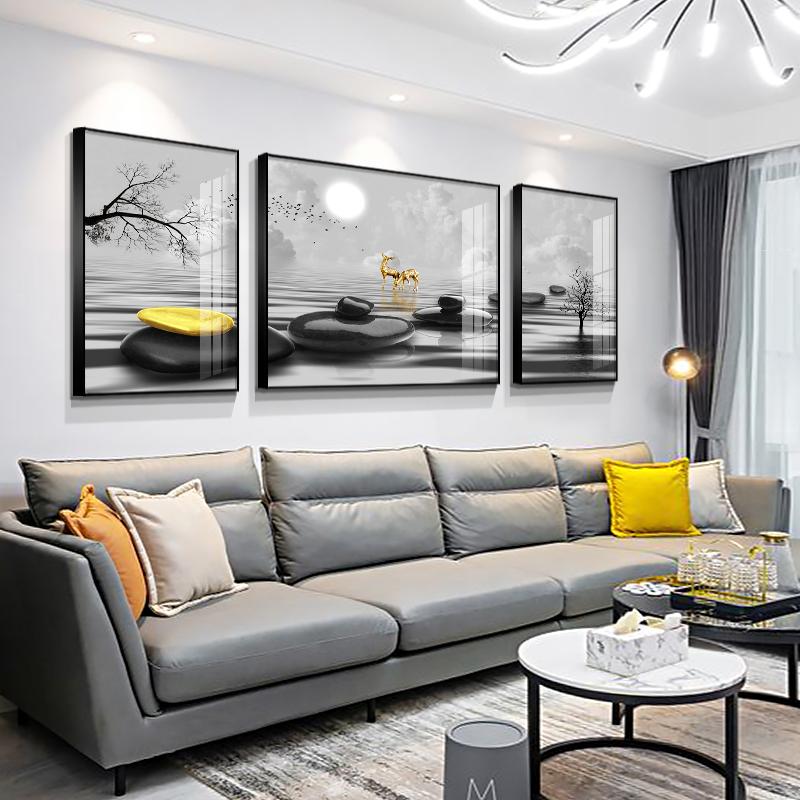 客廳沙發背景墻掛畫石來運轉客廳三聯畫現代輕奢壁畫客廳掛畫大氣