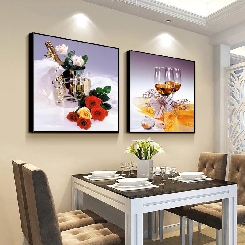餐厅装饰画 现代简约饭厅挂画餐厅墙面装饰 壁画两联饭厅墙壁装饰