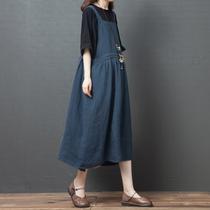 夏装新款2020韩版宽松洋气大码女装显瘦收腰系带洋气连衣裙背带裙