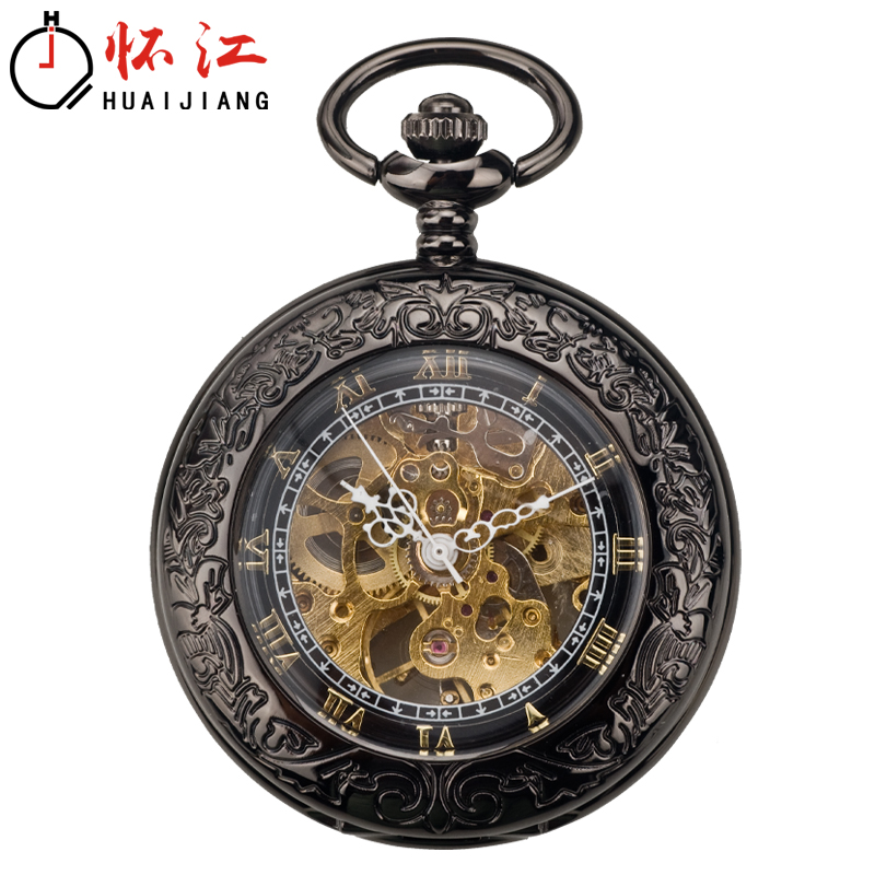 Chinese style engraved Vintage fold automatic pocket watch student nostalgia old Shanghai Engraved Necklace Watch wall Watch