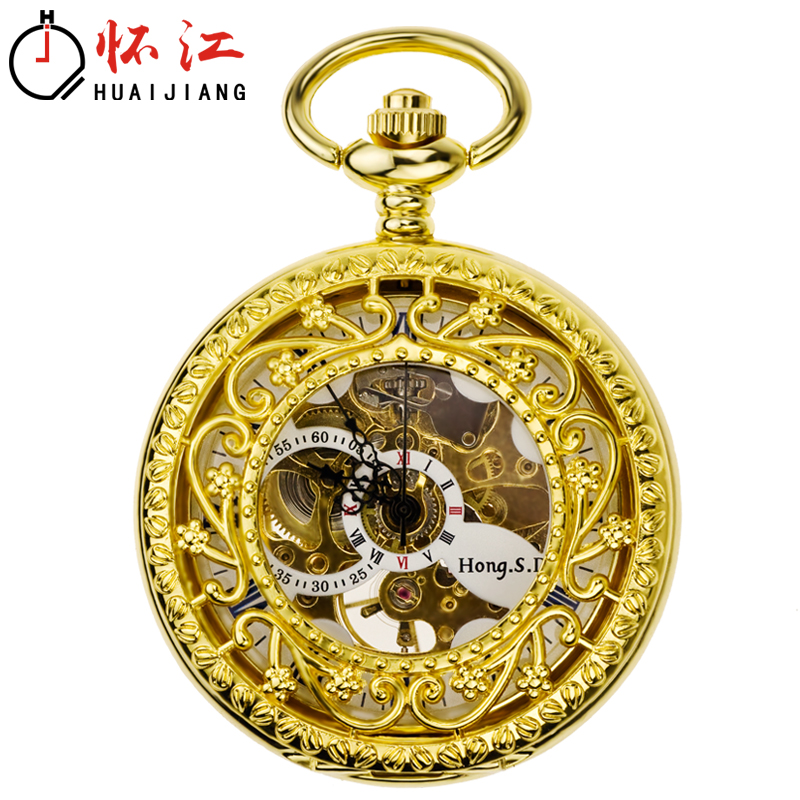 Secret Garden automatic machine pocket watch Retro Old Shanghai fold carved couple watch sweater chain pendant