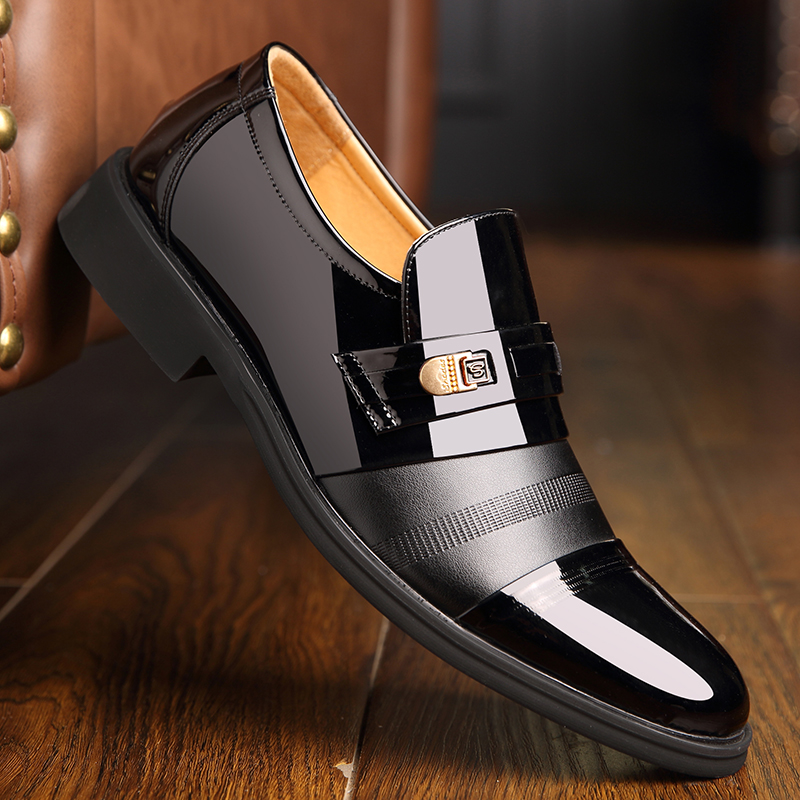 2021 spring mens business dress shoes brown pointed toe set Korean fashion mens shoes low top shoes mesh shoes