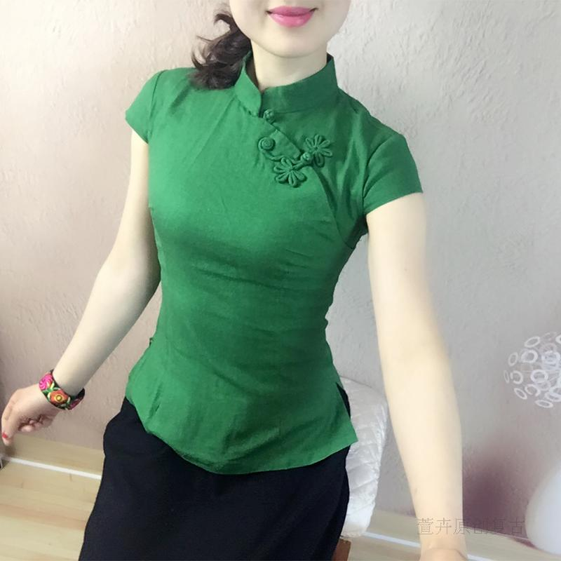 Chinese style Chinese improved cheongsam tops female Xia tea artist clothing retro buckle Tang suit