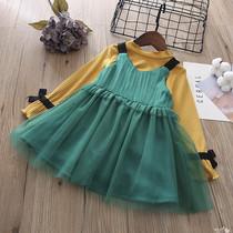 2020秋冬季新款童装韩版女童长袖T恤+加绒百褶网纱背心裙套装