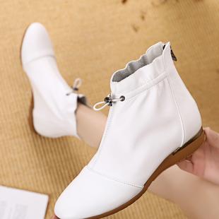 真皮平跟短靴女平底百搭休闲马丁靴春秋单靴裸靴白色女靴软底女鞋
