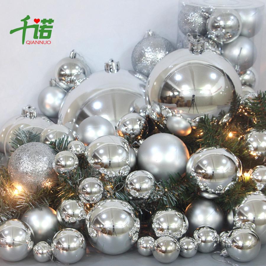 千诺圣诞球装饰圣诞树挂件春节元旦婚礼布置银色亮光球大号球挂饰