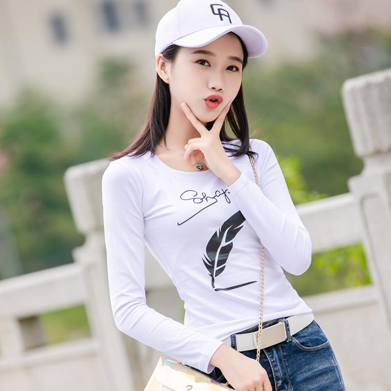 2020春装新款韩版女装纯棉长袖t恤女紧身显瘦百搭白色打底衫上衣