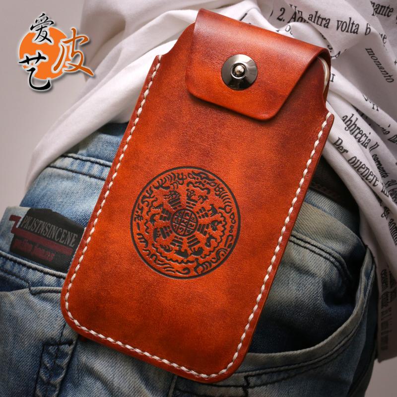 全面屏专用!6.5寸手机包男苹果8PLUS竖款真皮套厚牛皮手缝穿皮带